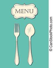 forchetta, menu, coperchio, illustrazione, cucchiaio, vettore