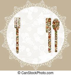 forchetta, menu, tovagliolo, temlate, cucchiaio, vettore, coltello