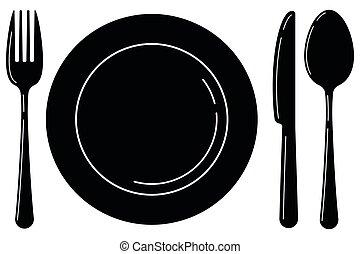 forchetta, nero, bianco, fondo., cucchiaio, piastra, vuoto, isolato, coltello