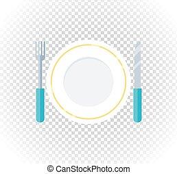 forchetta, piastra, appartamento, disegno, icona coltello