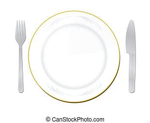 forchetta, piastra, bianco, coltello