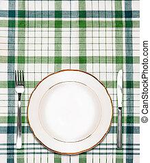 forchetta, piastra, checkered, verde bianco, tovaglia, coltello