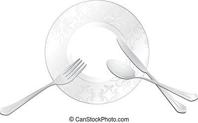 forchetta, piastra, coltello, cucchiaio