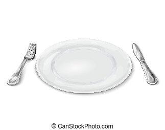 forchetta, piastra, coltello
