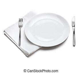 forchetta, piastra, coltello, vuoto