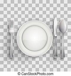 forchetta, piastra, coltello, vuoto, cucchiaio