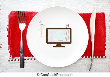 forchetta, piastra, concetto, calcolare, nuvola, bianco, coltello