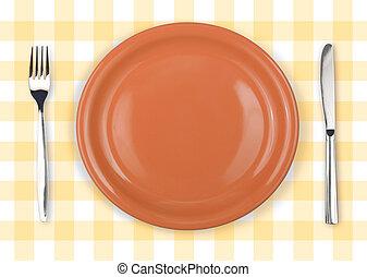 forchetta, piastra, controllato, giallo, arancia, tovaglia, coltello