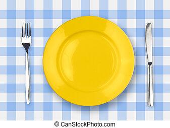 forchetta, piastra, controllato, giallo, tovaglia, coltello
