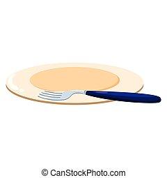 forchetta, piastra, disegno
