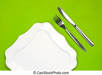 forchetta, piastra, figured, sfondo verde, bianco, coltello