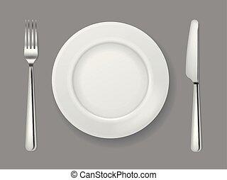 forchetta, piastra, fork., cibo, cima, metallo, coltelleria, isolato, realistico, coltello cena, tavola, bianco, argento, vuoto, vista