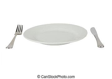forchetta, piastra, &, high-gloss, setting posto, coltello