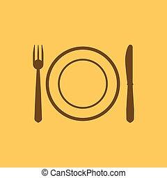 forchetta, piastra, icon., coltello, piatto, pietanza