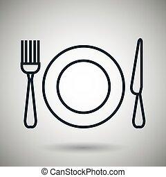 forchetta, piastra, icona coltello