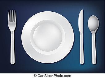 forchetta, piastra, -, illustrazione, bianco, coltello