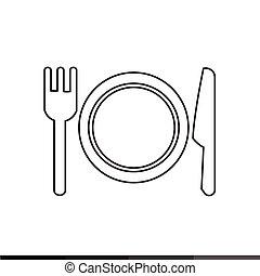 forchetta, piastra, illustrazione, disegno, icona coltello