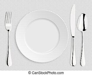 forchetta, piastra, isolated., eps10., cucchiaio, realistico, vettore, disegno, vuoto, sagoma, coltello