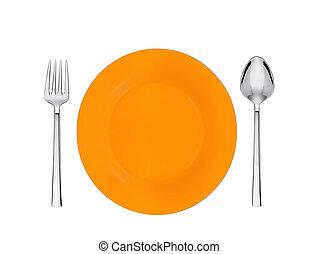 forchetta, piastra, isolato, cucchiaio, arancia, bianco
