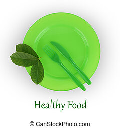 forchetta, piastra, isolato, verde bianco, coltello