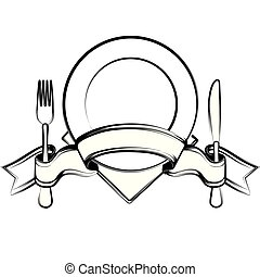 forchetta, piastra, nastro, coltello, cucchiaio