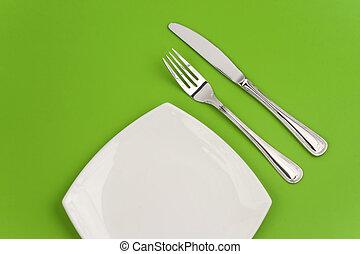 forchetta, piastra, quadrato, sfondo verde, bianco, coltello