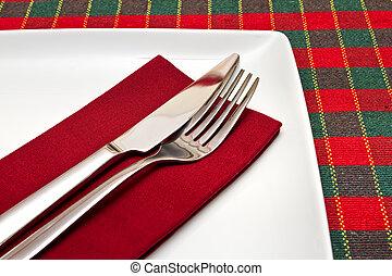 forchetta, piastra, quadrato, verde, coltello, bianco, tovaglia, rosso