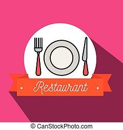 forchetta, piastra, ristorante, icona coltello