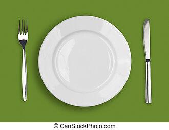 forchetta, piastra, sfondo verde, bianco, coltello