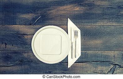 forchetta, piastra, toned, vendemmia, tovagliolo, bianco, coltello