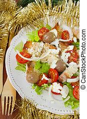 forchetta, piastra, verdura, insalata