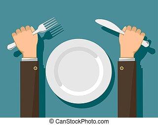 forchetta, piastra., vuoto, mani, bianco, coltello