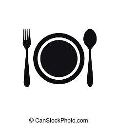 forchetta, piatto, pietanza, cucchiaio, icona