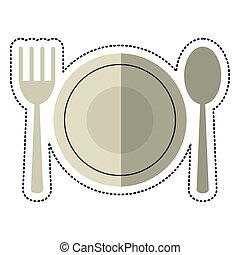 forchetta, placchi cucchiaio, cartone animato, utensili