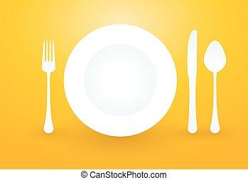 forchetta, placchi cucchiaio, coltello