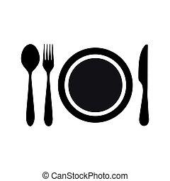 forchetta, placchi cucchiaio, icona coltello