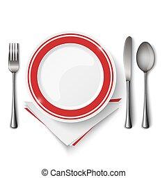 forchetta, placchi cucchiaio, rosso, sagoma, bianco, coltello