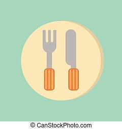 forchetta, pranzo, simbolo, coltelleria, knife.