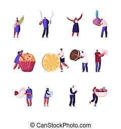 forchetta, presa, pace, persone, fondo., differente, cibo, presa a terra, bianco, illustrazione, panetteria, set, femmina, caratteri, maschio, cipolla, knife., cartone animato, verde, bacche, dolci, vettore, isolato, fresco