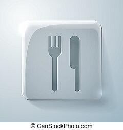 forchetta, quadrato, culmini, vetro, knife., icona