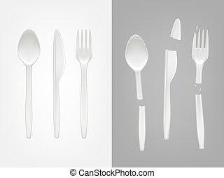 forchetta, realistico, disponibile, coltelleria, plastica, rotto, vettore, cucchiaio, coltello, 3d