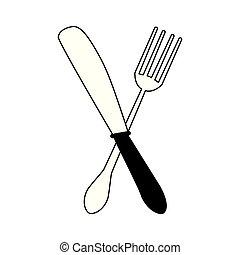 forchetta, ristorante, coltelleria, nero, bianco, coltello