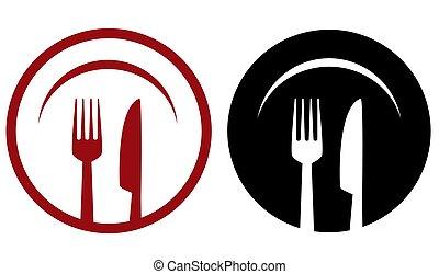 forchetta, ristorante, coltello, piastra, icone