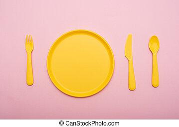 forchetta, rosa, color:, piastra, giallo, tableware, fondo, coltello