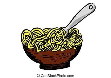 forchetta, scarabocchiare, fettucina, ciotola