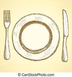 forchetta, schizzo, piastra, vendemmia, stile, coltello