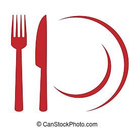 forchetta, segno, coltello, piastra, ristorante