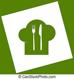 forchetta, segno., cucchiaio, cappello chef, coltello