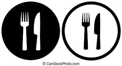 forchetta, segno, nero, coltello, ristorante