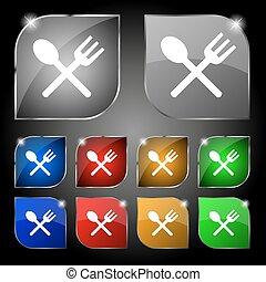 forchetta, set, colorito, dieci, segno., glare., crosswise, bottoni, cucchiaio, vettore, coltelleria, mangiare, icona